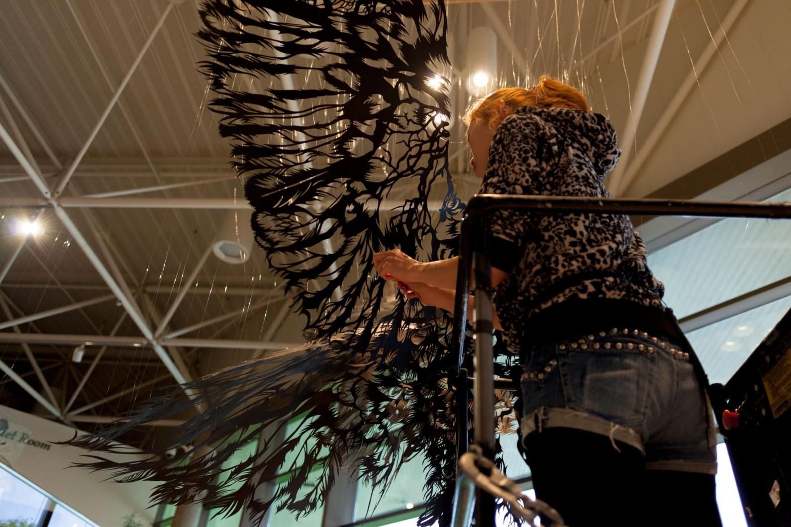 ArtPrize2014 Installation Paper Cut Sculpture Nahoko Kojima hanging Washi Bald Eagle Gerald Ford Museum ArtPrize