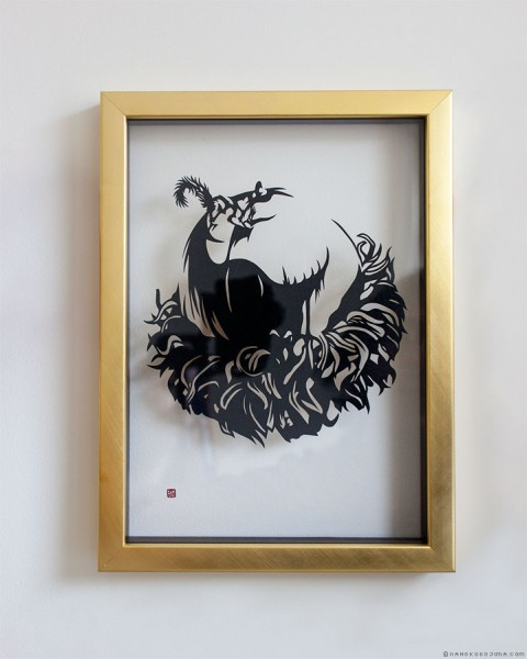 Paper Cut Art Framed Red Squirrel Nahoko Kojima エゾリス