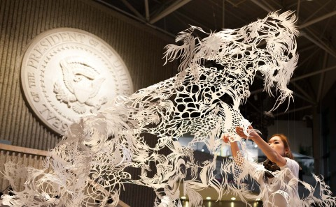 ArtPrize2014 Installation Paper Cut Sculpture Nahoko Kojima Byaku Swimming Polar Bear ArtPrize