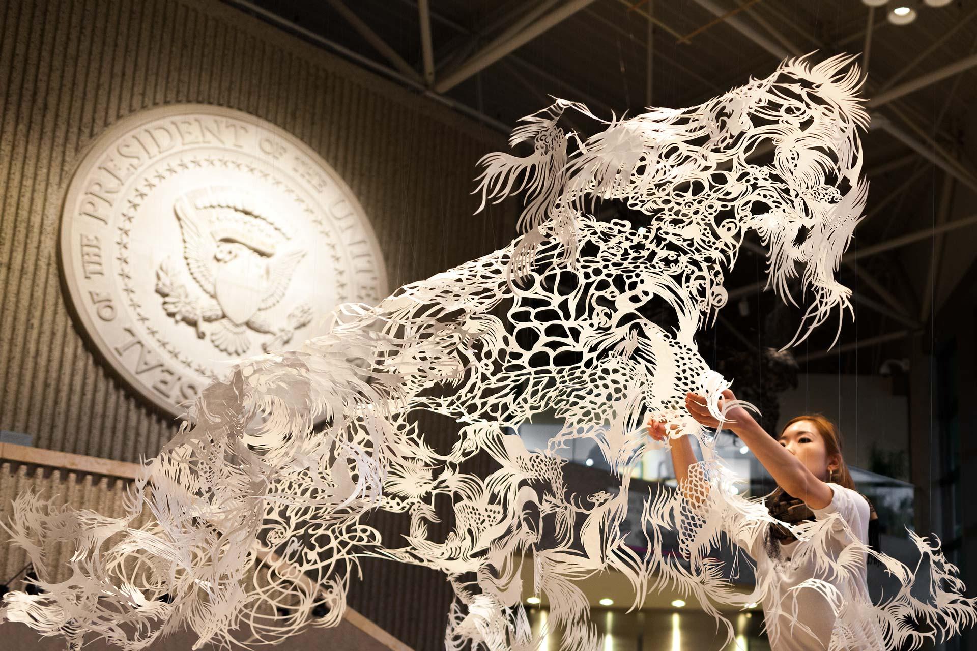 Artprize 2014 Japanese Paper Cut Sculpture Ford Museum