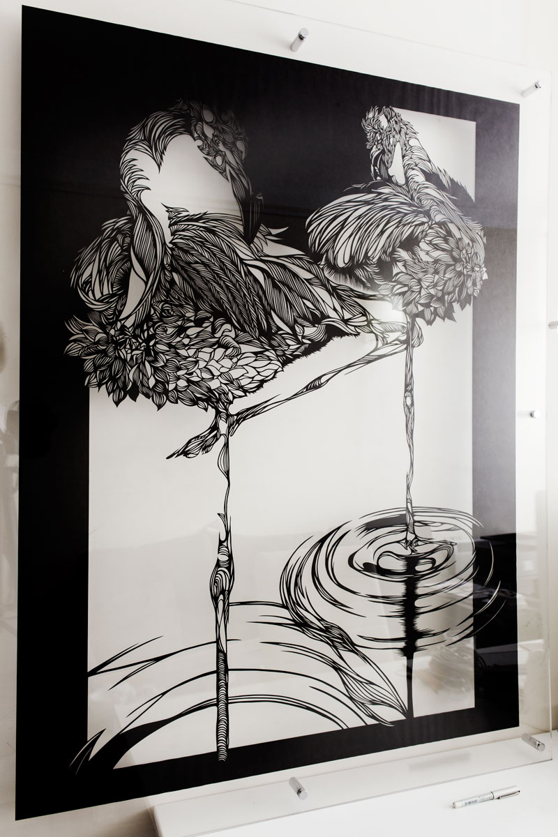 Wall-Sculptures-buy Paper-Cut-Art_Nahoko_Kojima-Flamingo-0