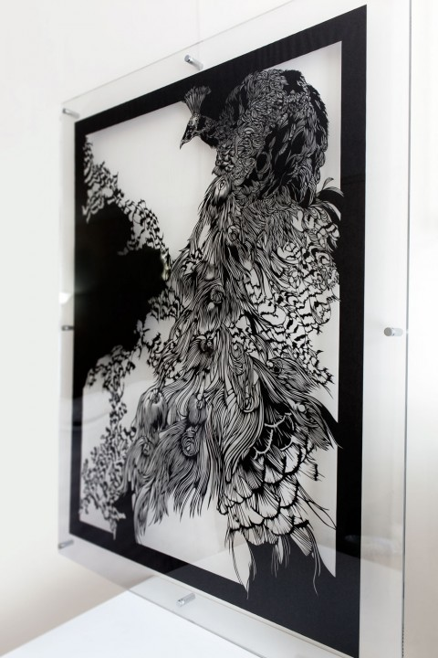 Wall-Sculptures-to buy Paper-Cut-Art_Nahoko_Kojima-Peacock-0