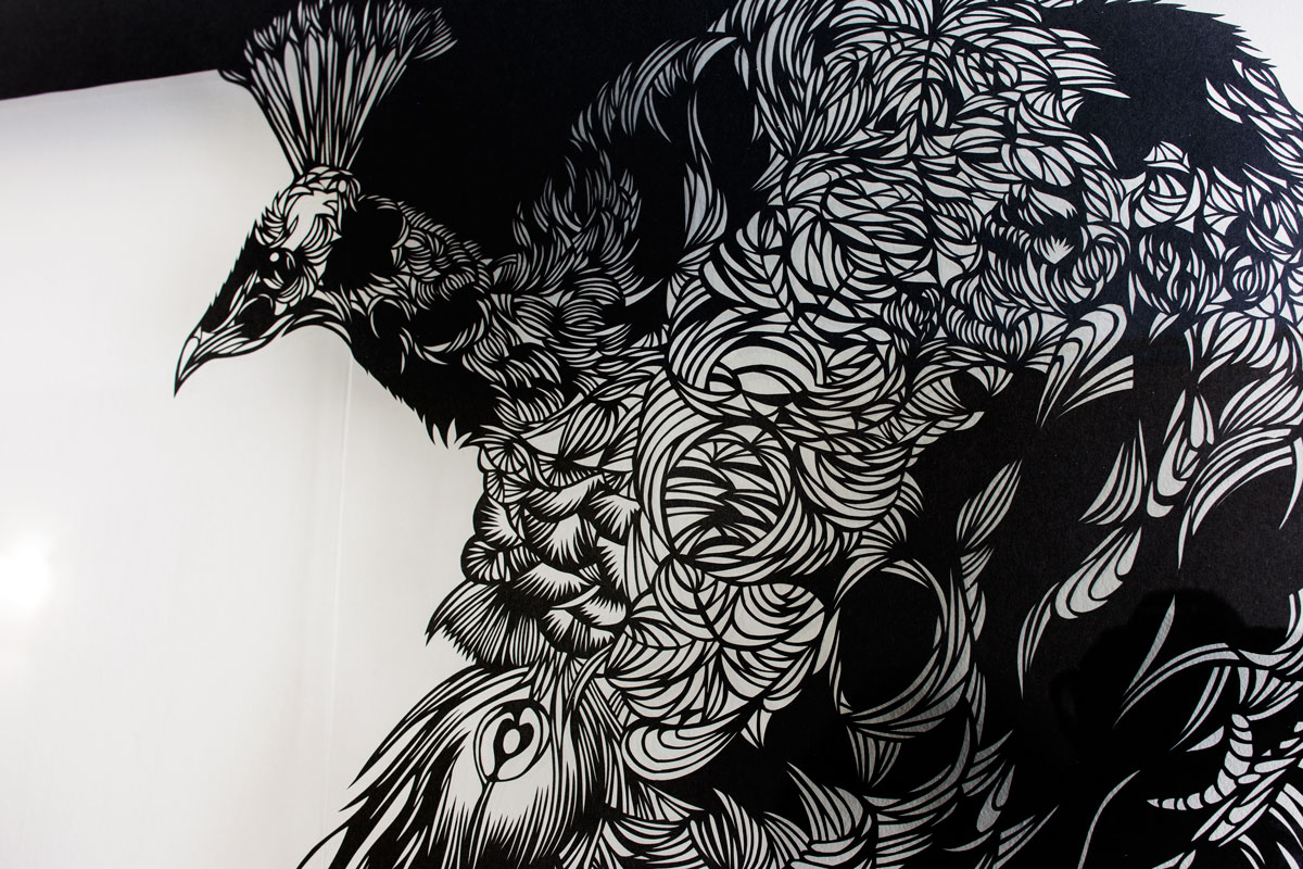 Wall-Sculptures-to buy Paper-Cut-Art_Nahoko_Kojima-Peacock