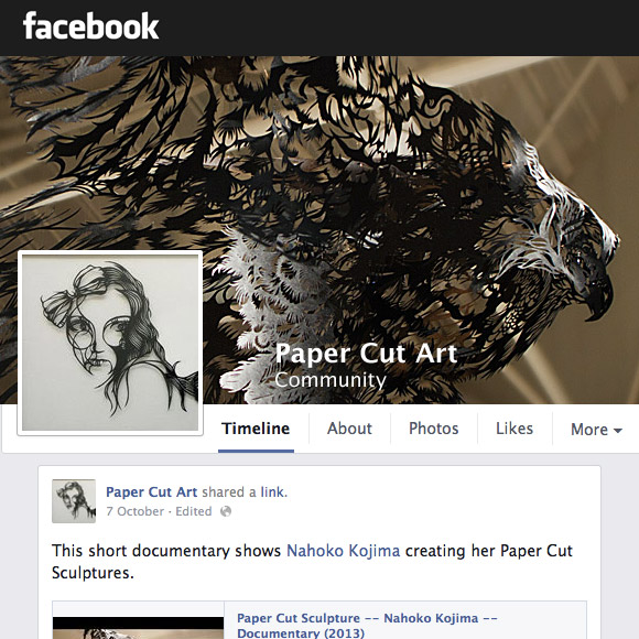Facebook Community Paper Cut Art Sculpture