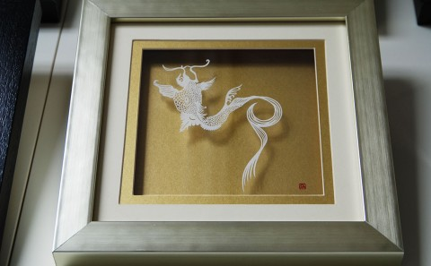 Wall Sculptures - Paper Cut Art Kiku Flowers Carp