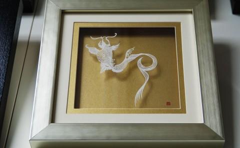 Wall Sculptures - Paper Cut Art Kiku Flowers Carp