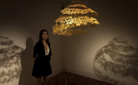 Holburne Museum, Bath, Nahoko Kojima, Contemporary Paper Cut Artist, Queen's Royal Collection Gold - Honey - Paper Cut Sculpture