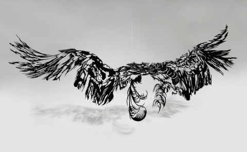 Japanese Art - Paper Cut Art migration sculpture