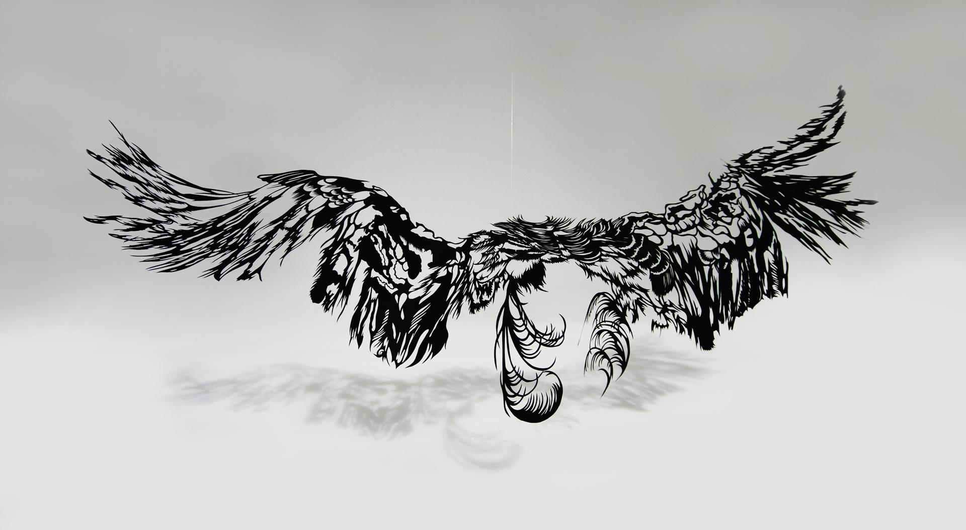 Japanese Art - Paper Cut Art migration sculpture