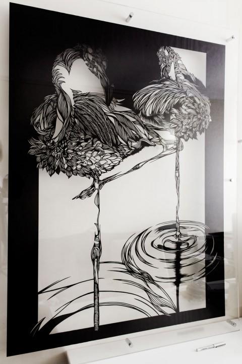 Wall-Sculptures-buy Paper-Cut-Art_Nahoko_Kojima-Flamingo-0