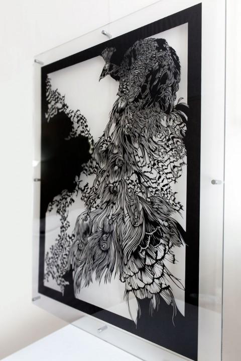 Wall-Sculptures-to buy Paper-Cut-Art_Nahoko_Kojima-Peacock-0